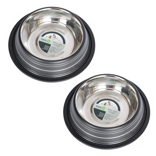 Iconic Pet 3 Cup Color Splash Striped Non-Skid Pet Bowl for Dog or Cat (2 Pack), Black, 24 oz
