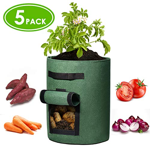 Delxo 5 Pack 10 Gallon Potato Grow Bags Two SidesVelcro Window Vegetable Grow Bags, Double Layer Premium Breathable Nonwoven Cloth for Potato/Plant Container/Aeration Fabric Pots with Handles(Black)