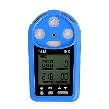 Medidor de monóxido de carbono CH4 O2 H2S CO detector de gas Analizador Monitor de Tester de aire azul: Amazon.es: Coche y moto