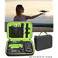 Protective Case for DJI Spark Portable Mini Quadcopter Drone, Slots for Charger adpter, 2 batteries and propellers, Pockets for USB, Cable, Micro SD Cards and Charger base (Black + Meadow Green)