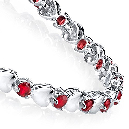 925 Sterling Silver Round Ruby Heart Shaped Cubic Zirconia Puff Tennis Bracelet