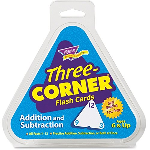 Subtraction Three Corner - Three Corner Flash Cards, Addition and Subtraction - 2pc