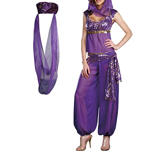 H88 Jasmine Genie Belly Women Dancer Arabian Nights Fancy Dress Costume (M, Purple) -
