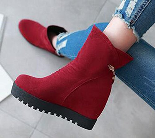 Boots IDIFU Red Ankle Suede Faux Wedge Fashion Short Inside Fringes Hidden Womens Heels Mid r7grw