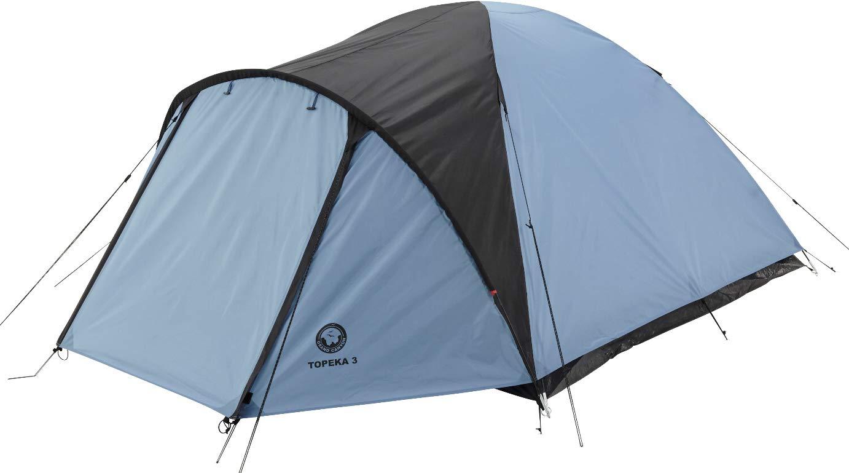 Grand Canyon Topeka 3 - großzügiges Kuppel-/ Igluzelt, 3 Personen, für Trekking, Camping, Outdoor, Festival, mit Vorbau für extra Stauraum, blau/schwarz, 302204