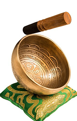Tibetan Handmade Singing Bowl Set By YAK THERAPY – Om Mani Padme Hum – Excellent Resonance Healing  Meditation Yoga Bowl with Mallet, Silk Cushion  …