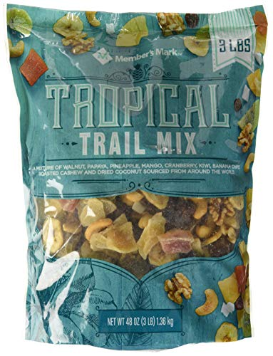 Mix, 3 Pound, Walnut, Cashew, Coconut, Pineapple, Mango, Cranberry, Kiwi, Banana (Tropical Trail Mix, 48 Ounce) ()