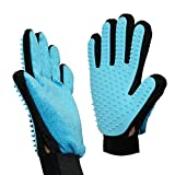 GEMEK 2-in-1 Pet Grooming Glove for Dogs Cats, Hair Comb, Grooming Tool, Deshedding Brush for Short Long Hair, Bathing Glove for Massage + Furniture Fur Remover Mitt with Cleaning Brush (Pair)