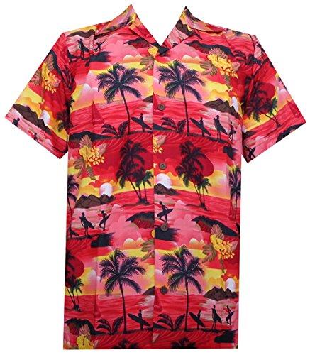 - Alvish Hawaiian Shirt 43 Mens Allover Scenic Party Aloha Holiday Beach Red XL