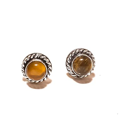 Brown Tiger Eye Sterling Silver Overlay 4 Grams Stud//Earring 10 mm Girls Jewelry