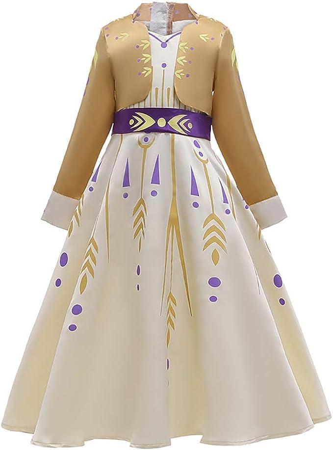 Disfraz Anna Frozen2 Niñas con Capa Princesa Elsa Vestido Traje ...