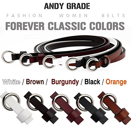 Set of 5 Women's Genuine Cowhide Leather Belt Stylish Thin Dress Fashion Vintage Casual Skinny Belts for Jeans Shorts Pants Summer for Women With Alloy Pin Buckle By ANDY GRADE
