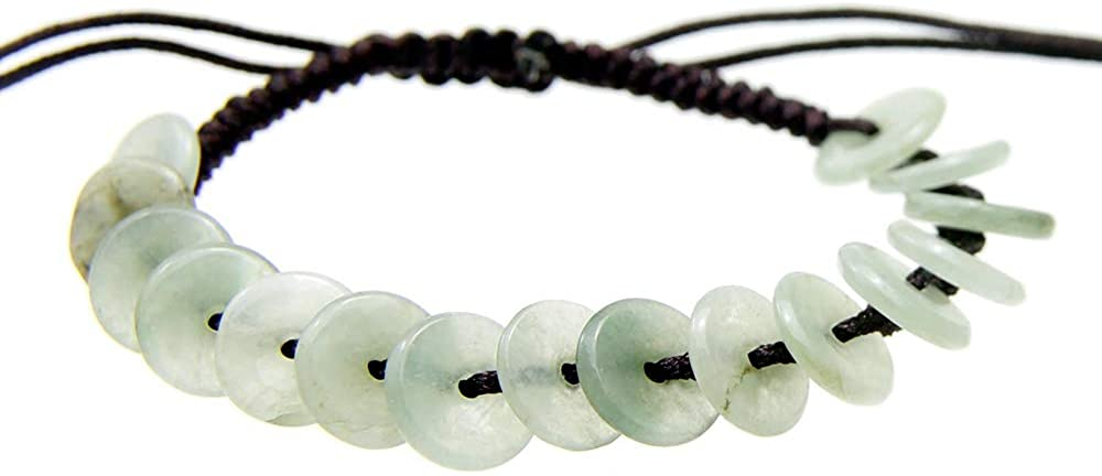 Agathe Creation JBA0182014 - Pulsera de jade tallado. Piedras de jade naturales, categoría A. Pulsera de la felicidad. Tamaño regulable. Fabricada a mano