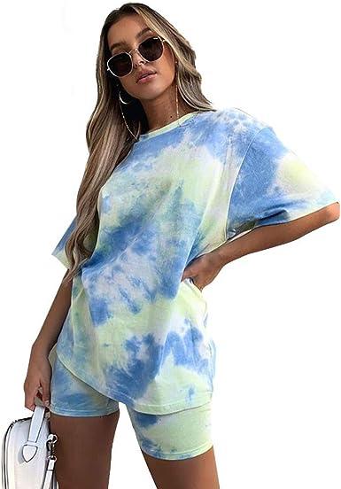 Tasty Life Moda De Color Tie-Dye, Camiseta Informal Suelta Y Delgada, Traje Corto, Tinte, Dibujo, Camiseta Básica, Pantalones Cortos, Traje De Dos ...