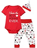 iCrazy Happy First Mother's Day Baby Girls' Outfit Set 3PCS Romper Love Printed Pants with Hat (Red, 12-18 Months)