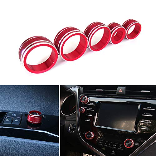 Thor-Ind 5pcs Aluminum AC Air Conditioning Audio Function Rear Mirror Knob Button Switch Cover Trim Ring for Toyota Camry 2018 XV70 Car Interior Accessories Decoration (Red)
