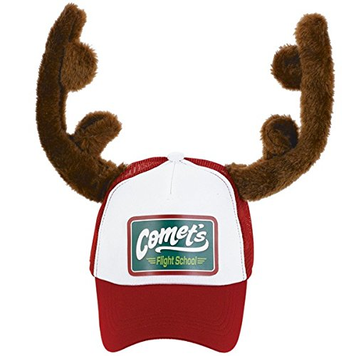 [Fun-Filled Christmas and Holiday Party Trucker Hat With Reindeer Antlers , Red/White/Brown, Polyester , 8