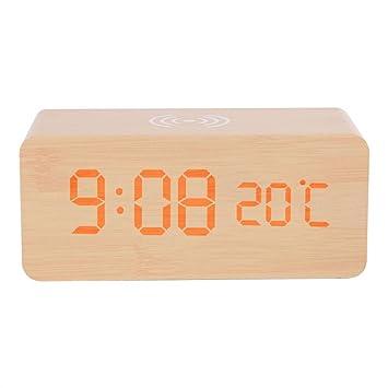 Y1Cheng Despertador Led De Madera Reloj De Alarma De Escritorio Digital Temperatura De Control De Voz