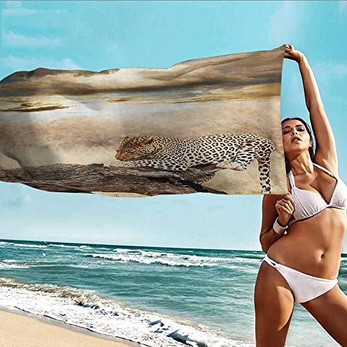 - Antonia Reed Printed Bath Towel Super Dry Safari,Leopard Resting Dramatic Cloudy Sky Africa Safari Wild Cats Nature Picture,Beige and Brown,Softness and Tear Strength Bath Towel20 x39 inch