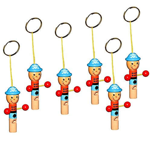Toy Cubby Painted Figures Wooden Whistle Keychain 6 Pack - Classic Wooden Whistle Painted Figurines with Keychain Party Favor Gift Set | Birthday | BBQ's | Beach | Camping