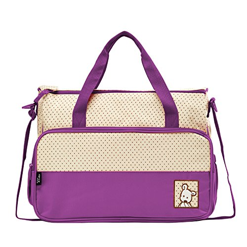 SoHo diaper bag Lavender 8 pieces nappy tote bag unisex for baby mom dad stylish insulated unisex multifunction waterproof large capacity includes changing pad stroller straps - Piece 8 Diaper Bag