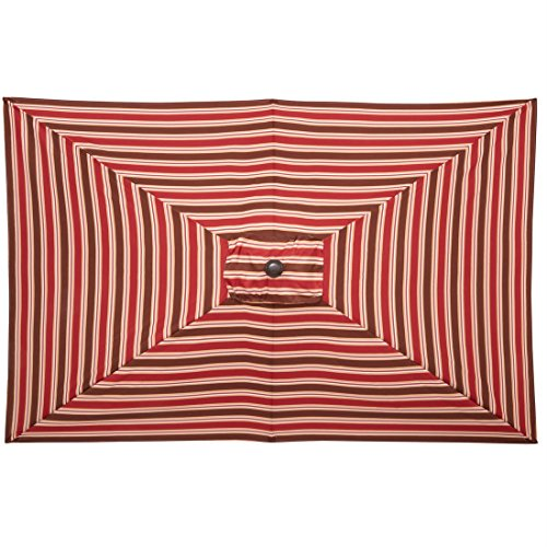 Brylanehome 61/2-Ft.X10-Ft. Rectangular Umbrella (Red Stripe,0) (Garden Oblong Umbrellas)