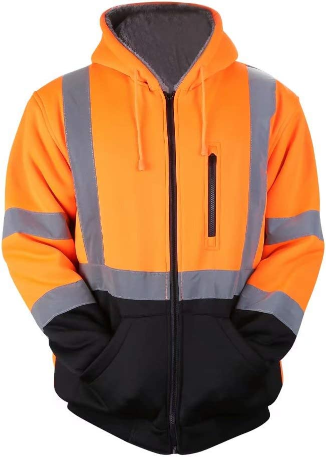 M, Orange Mens ANSI Class 3 High Visibility Safety Hooded Wool Fleece Inner Sweatshirt Black Bottom Thermal