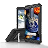 ZTE Zmax Pro, Carry Z981, Blade X Max Case, Trishield Durable Rugged Armor Phone Cover With Detachable Lanyard Loop And Built in Kickstand Card Slot - Solar Planet Galaxy