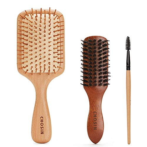 Hair Brush CHOSIN Wooden Detangling Brushes Natural Detangler Paddle Hairbrush for Women Men Kids Stimulate Scalp Help Growth Add Hair Shine reviews