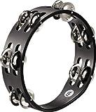 Meinl Percussion CTA2S-BK Compact Tambourine, Steel Jingles, 2 Rows
