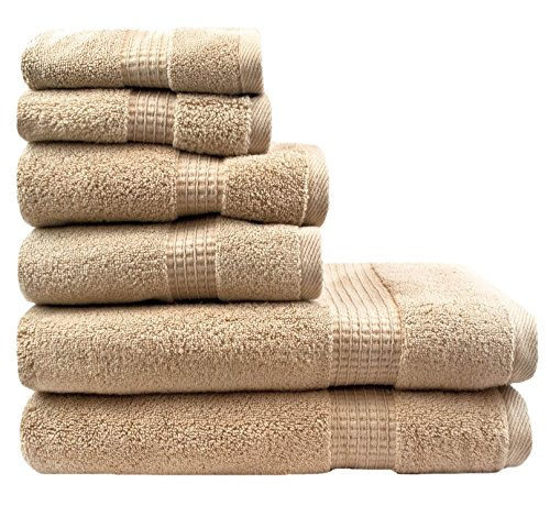 Nugget Textured - 6 Piece Nugget Gold/taupe Solid Color Towel Set With 30 X 54 Inches Bath Towels, Light Nugget Gold/taupe Textured Check Border Stripe Plush Low Twist Loop Terry Absorbent Soft Modern Towels, Cotton