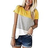 YILLEU Striped Floral Print Women Casual Short Color Block Sleeve Crew Neck Top Blouse Tee Shirt Tunic (Mustard, M)