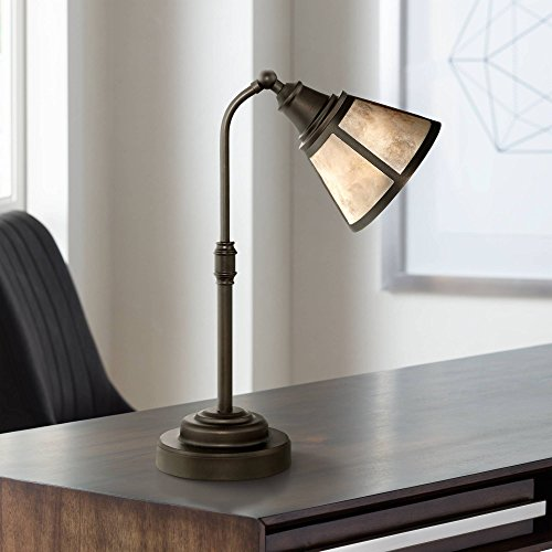 Malta Rustic Farmhouse Task Desk Table Lamp Satin Bronze Metal Blond Natural Mica Shade for Living Room Bedroom Bedside Nightstand Office Family - Regency Hill