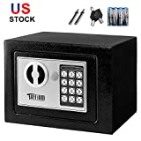 TUFFIOM Electronic Digital Security Safe Box Keypad Lock,Home Office Hotel Business Jewelry Gun Cash Use Mini Cabinet Storage,Solid Steel with 4 Test Batteries,USA Stock (0.18 CF)