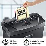 Bonsaii Paper Shredder, 12 Sheet Cross Cut Document and Credit Card Shredder for Home