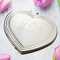 Personalized Silhouette Nickel Plated Heart Compact Makeup Mirror