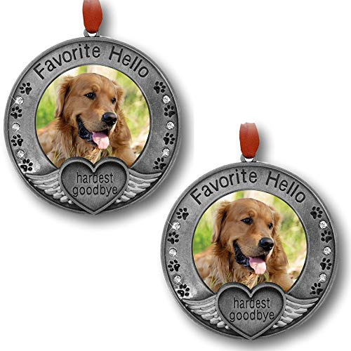 BANBERRY DESIGNS Pet Memorial Ornament - Picture Ornament for a Pet - Engraved with The Saying Favorite Hello, Hardest Goodbye - Pet Remembrance - 2 Pack