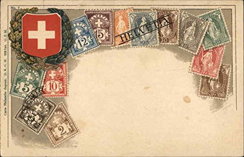 Assorted Swiss Stamps and Swiss Shield Stamp Postcards Switzerland Original Vintage Postcard