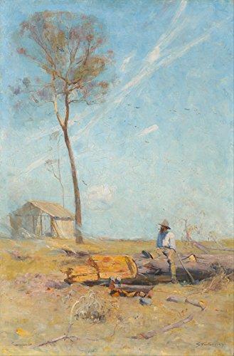 Arthur Streeton - The Selector's Hut Whelan On The Log - Extra Large - Archival Matte - Black - Foto Hut
