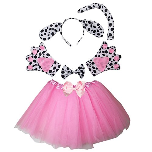 Kirei Sui Kids Spotted Dog Costume Tutu Set Pink ()