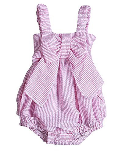 Mysticline Baby Girls Bubble Straps Striped Ruffled Layers Bowknot Romper Bodysuit Outfits (Pink, 6-12 Months) Pink Striped Seersucker