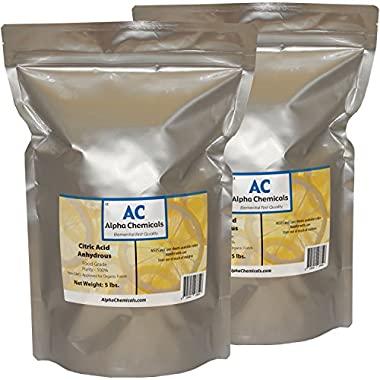 Citric Acid - 10 Pounds (2-5 lb bags) - Food Grade , Non-GMO, Organic, 100% Pure - Alpha Chemicals