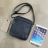 Black Leather Vertical Messenger Bag for iPad Mini