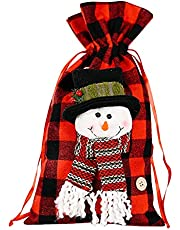 Alrise Santa Claus Snowman Elk Christmas Candy Packaging Christmas Candy Decoration Christmas Tote Bag Apple Bag Gift Bag Christmas Decoration for Family (Red)