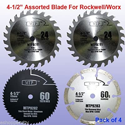 "Pack of 4 Assorted Metal/wood 4-1/2"" 4.5 inch Circular Saw Blade for Rockwell Compact Rk3441k , Worx WX429L RW9281 RW9282 Rw9283 by MTP"