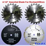 "Pack of 4 Assorted Metal/wood 4-1/2"" 4.5 inch Circular Saw Blade for Rockwell Compact Rk3441k , Worx WX429L RW9281 RW9282 Rw9283"