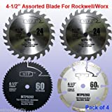 Pack of 4 Assorted Metal/wood 4-1/2' 4.5 inch Circular Saw Blade for Rockwell Compact Rk3441k , Worx WX429L RW9281 RW9282 Rw9283