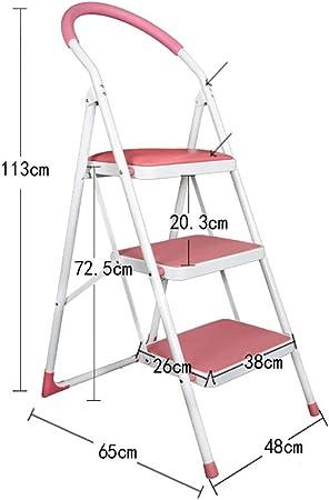 GBX Escalera Plegable, Hierro Pie Banco - Hijos Adultos Escalera Silla Plegable Cubierta de Cocina Escalera Portátil/Almacenamiento en Rack/Escabel/Flower Stand/Negro/Rosa/Blanco Duradero: Amazon.es: Bricolaje y herramientas