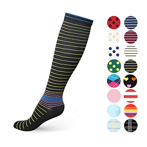 Graduated Compression Socks for Women & Men 20-30 mmHg - Moderate Compression Stockings For Running, Crossfit, Travel- Suits, Nurse, Maternity Pregnancy, Shin Splints (L/XL, Black & Yellow - The Warehouse Suit