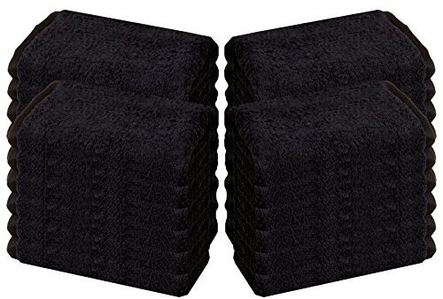 HomeLabels Cotton Salon Towels - Gym Towel - Hand Towel - (24-Pack, Black) - 16 inches x 26 inches - Ringspun-Cotton, Maximum Softness and Absorbency, Easy Care